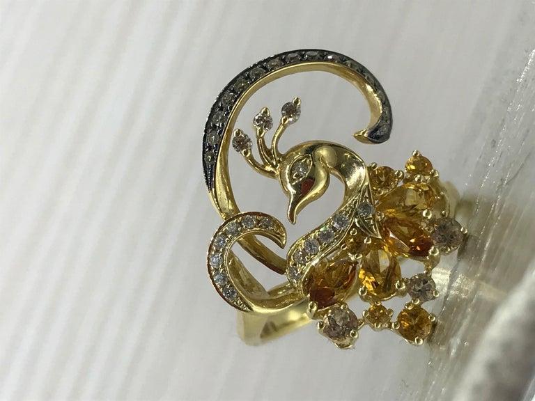 Exclusive Fine Jewelry Citrine / Yellow Topaz / White Diamond Gold Ring For Sale 3