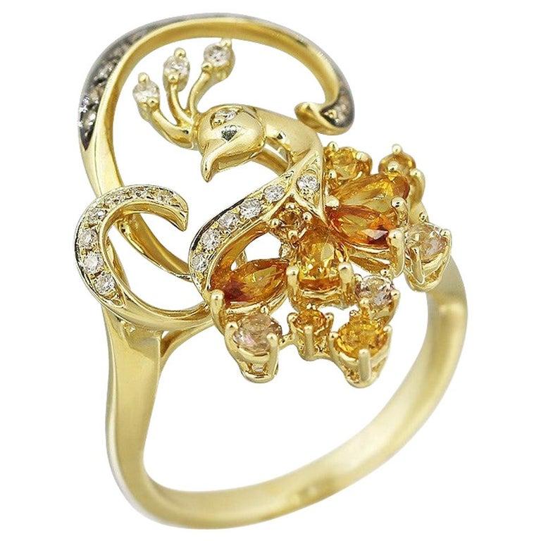 Exclusive Fine Jewelry Citrine / Yellow Topaz / White Diamond Gold Ring For Sale