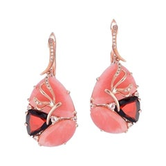 Exclusive Garnet Rhodolite Pink Quartz Diamond Pink Gold Earrings