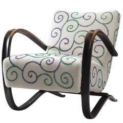 Exclusive Hand Embroidered Jindrich Halabala Lounge Chair
