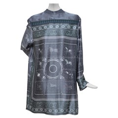 Exclusive  HERMES Horse Print Runway Metallic Jacquard Tunic Top   NEW  W Tags
