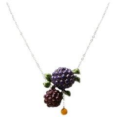 Exclusive Impressive Enamel White Diamond White 18 Karat Gold Necklace
