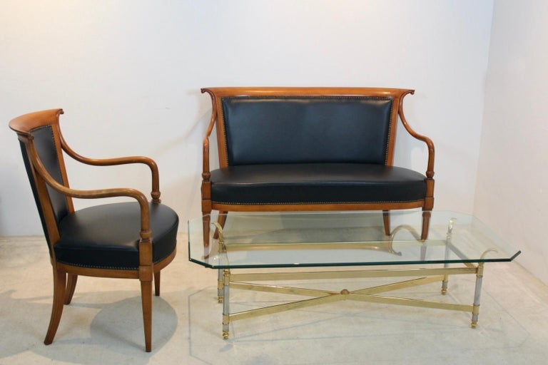 20th Century Exclusive Italian 'Directoire' Set with Two-Seat Sofa and Chair by Selva