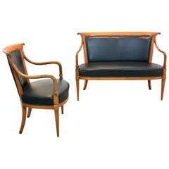 Exclusive Italian 'Directoire' Set with Two-Seat Sofa and Chair by Selva