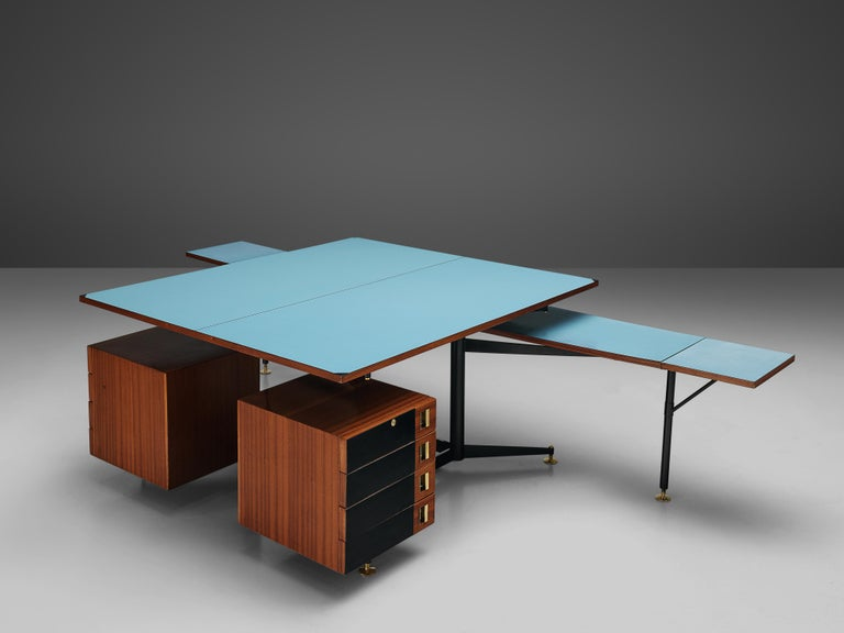 Highly functional double desk with drawers, Italian walnut, blue laminated top, brass, metal, Italy, 1960s 