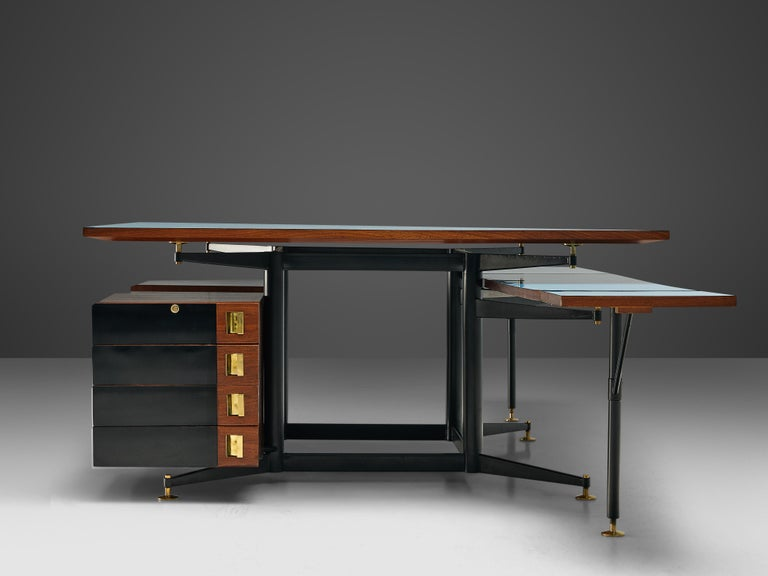 European Exclusive Italian Double Desk in Italian Walnut For Sale