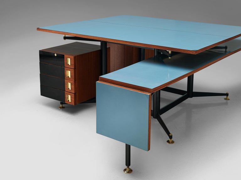 Brass Exclusive Italian Double Desk in Italian Walnut For Sale
