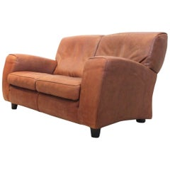 Exclusive Italian Molinari 'Fatboy' Two-Seat Sofa in Cognac Bull Leather