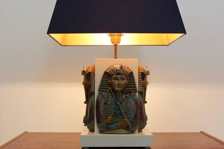 Hollywood Regency Exclusive Pharaoh Toetanchamon Table Lamp, France 1950s For Sale
