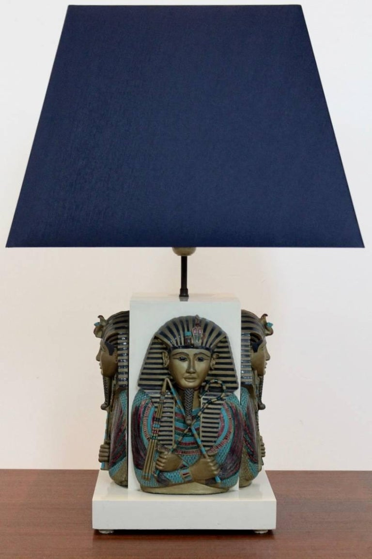 French Exclusive Pharaoh Toetanchamon Table Lamp, France 1950s For Sale