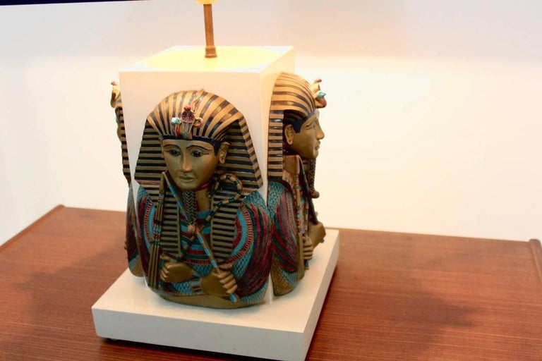 Exclusive Pharaoh Toetanchamon Table Lamp, France 1950s In Excellent Condition For Sale In Voorburg, NL