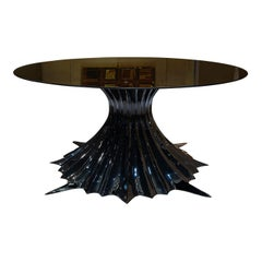 Exclusive Spider Pedestal Large Glass Dining Table, Gattopardo