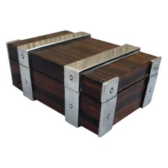 Exclusive & Stylish Solid Silver and Hardwood Ring or Jewelry Box w. Makers Mark