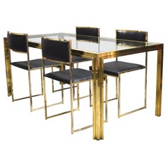 Exclusive Willy Rizzo Gold-Plated and Brass Dining Set, Italy, 1970s