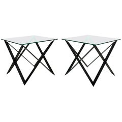 Exclusive X-Base Side Tables in Iron and Glass by Romo, California, 2016