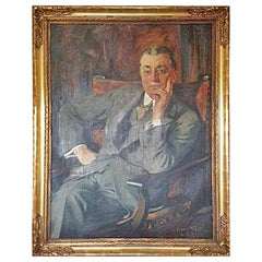 """""""Executive"""" Antique Oil Painting Portrait Signed by Masolle"""