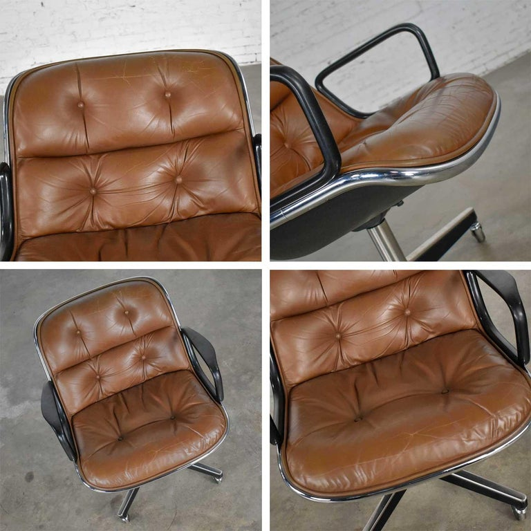 Executive Armchair by Charles Pollock for Knoll Brown Leather with 4 Prong Base For Sale 8