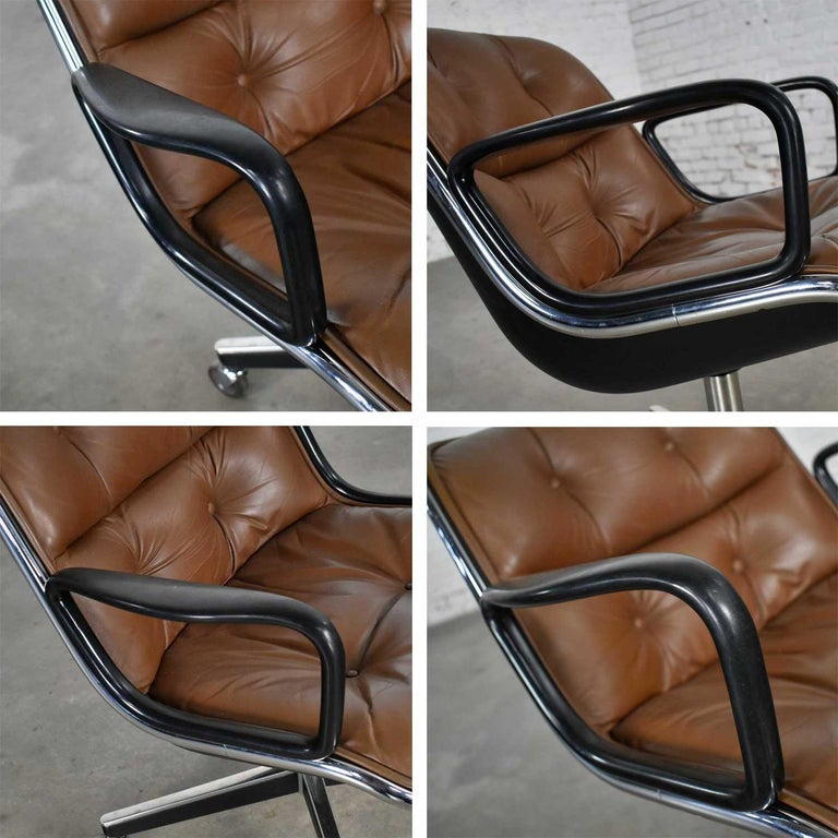 Executive Armchair by Charles Pollock for Knoll Brown Leather with 4 Prong Base For Sale 11