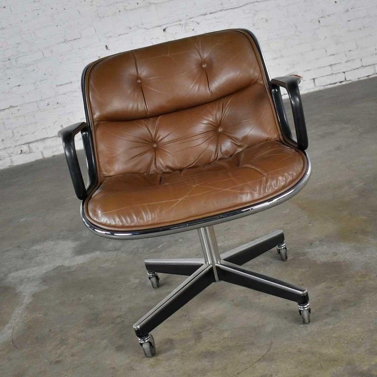 Executive Armchair by Charles Pollock for Knoll Brown Leather with 4 Prong Base For Sale 2