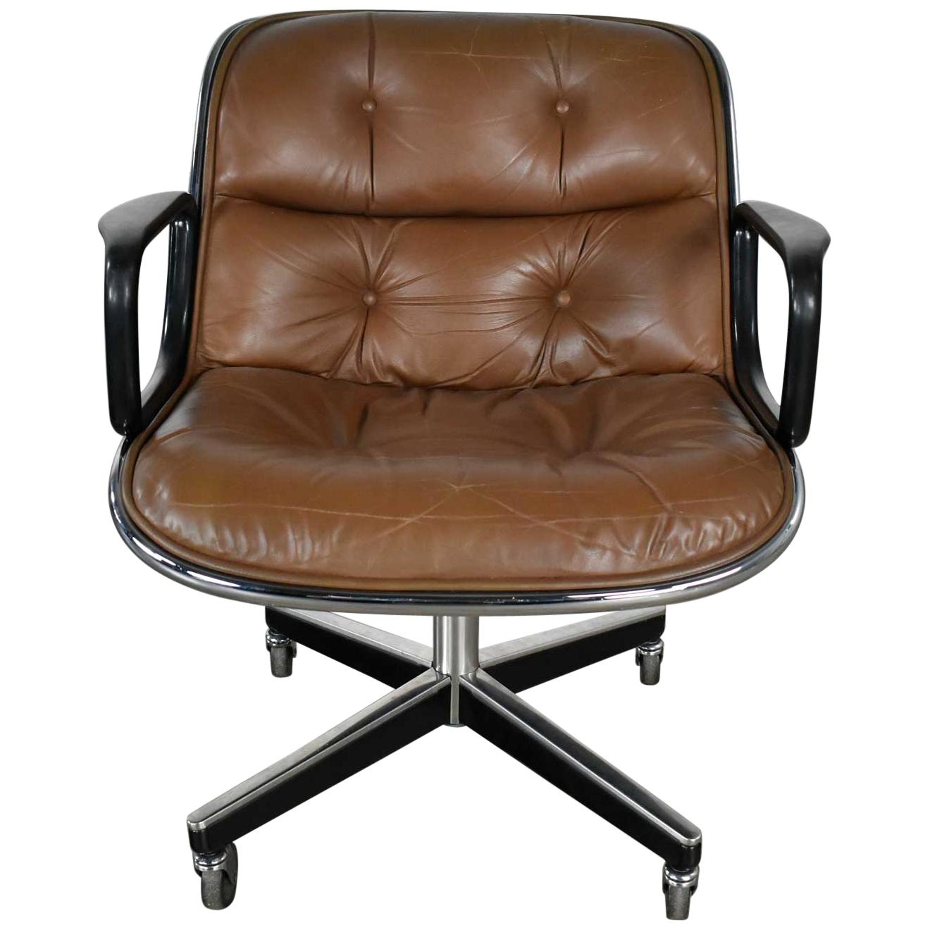 Executive Armchair by Charles Pollock for Knoll Brown Leather with 4 Prong Base