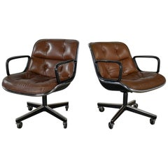 Executive Armchairs by Charles Pollock Knoll Brown Leather 4 Prong Bases a Pair