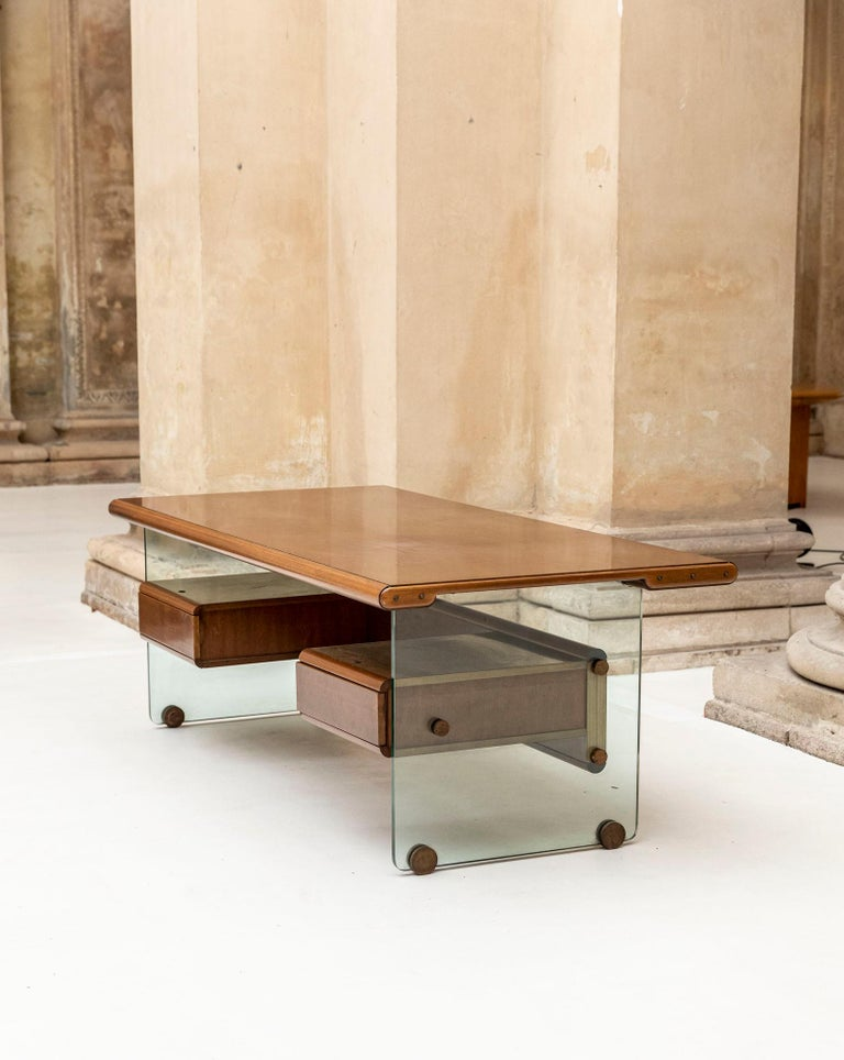 Stunning wood and glass executive desk attributed to Fabio Lenci for Comfort Line.