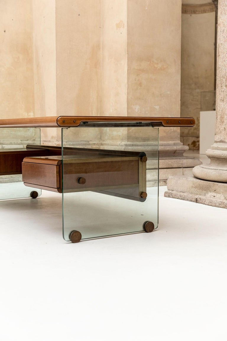 Glass Executive Desk Attributed to Fabio Lenci for Comfort Line
