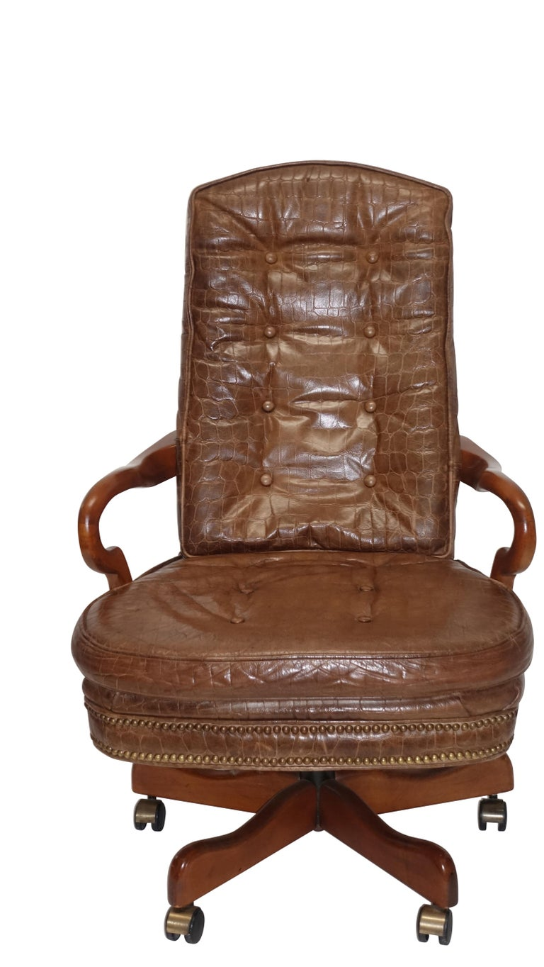 Pleasing Executive Desk Chair With Alligator Embossed Leather Andrewgaddart Wooden Chair Designs For Living Room Andrewgaddartcom