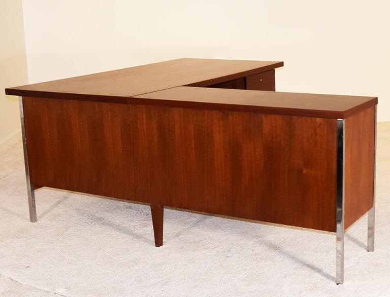 Chrome Executive Knoll Walnut Desk with Return For Sale