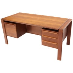 Executive Solid Teak Midcentury Danish Modern Desk with Bookcase and File Drawer