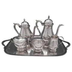 Exemplar by Watson Sterling Silver Tea Set 5-Piece with SP Tray, circa 1714-1727