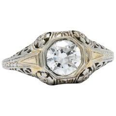 Exemplary Art Deco 0.70 CTW Diamond 18K Gold Floral Filigree Alterntative Ring