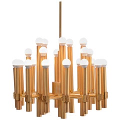 Gold colored Mid-Century Modern Chandelier by Angelo Brotto for Esperia Italia