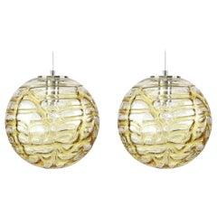 Exeptional Pair of Murano Glass Pendant Lights Venini Style, 1960s