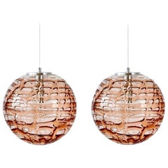 Exeptional Pair of Pink Murano Glass Pendant Lights Venini Style, 1960s