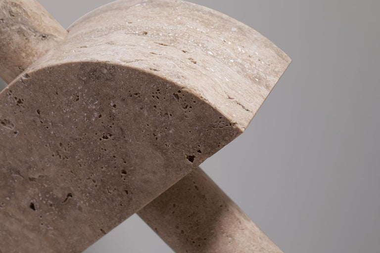 Adjustable Travertine Table Lamp by Addition Studios in Semicircle For Sale 3