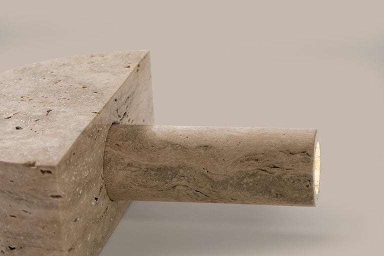 Modern Adjustable Travertine Table Lamp by Addition Studios in Semicircle For Sale