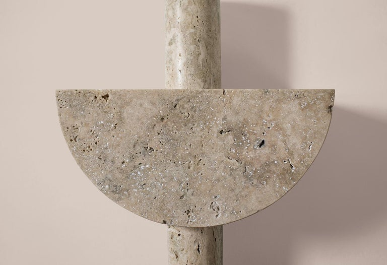 Carved Adjustable Travertine Table Lamp by Addition Studios in Semicircle For Sale
