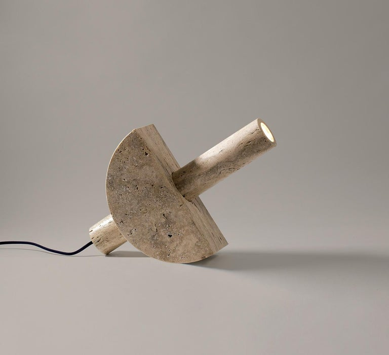 Adjustable Travertine Table Lamp by Addition Studios in Semicircle For Sale 1