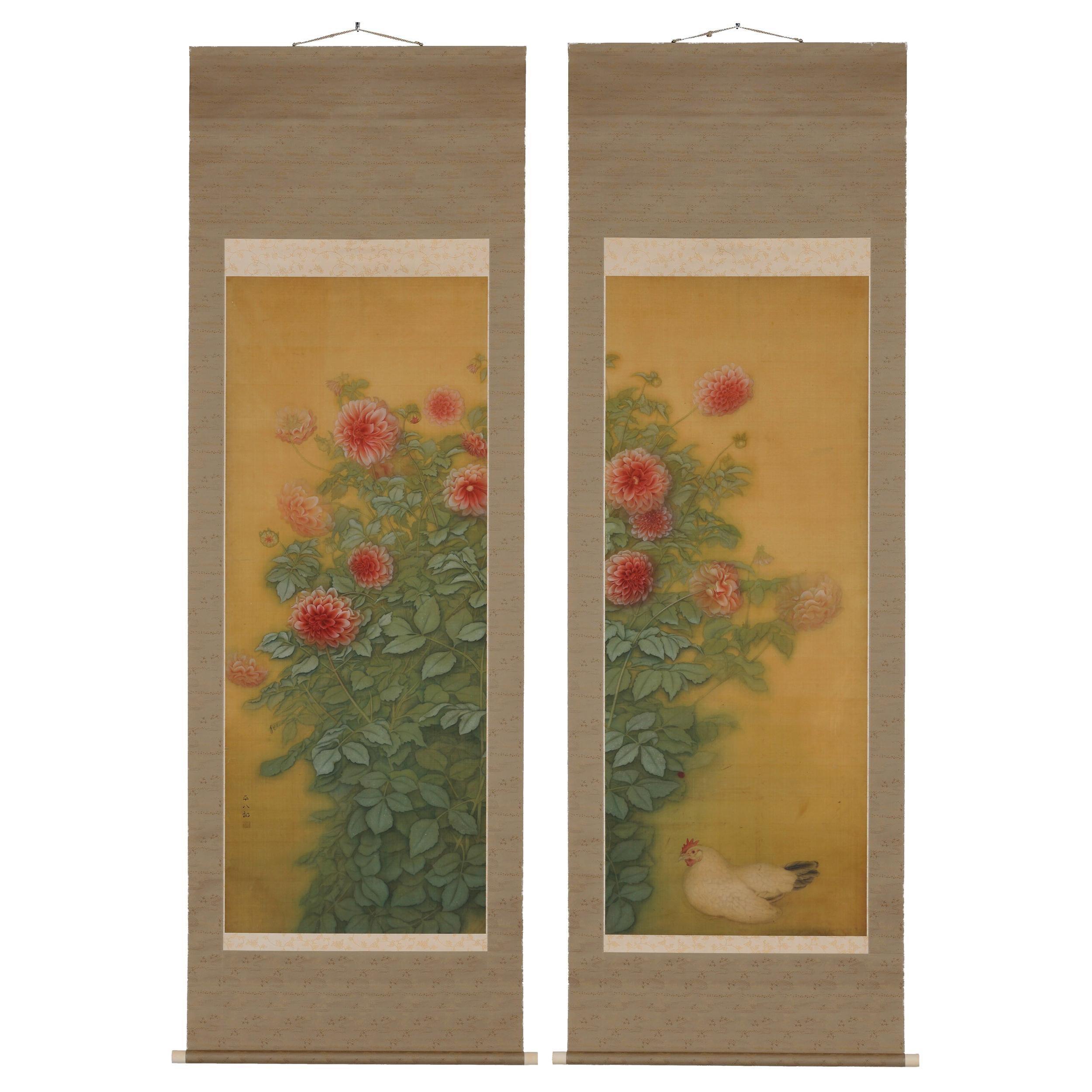 Exhibited 1923 Japanese Scroll, Pair, Dahlias, Taisho Period Painting