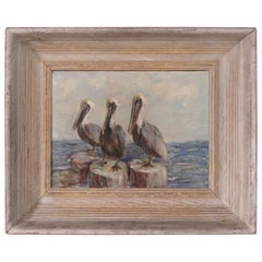 """Exhibited Modernist Oil Seascape Titled """"Three Sages"""" by Jean Gernand, 1953"""