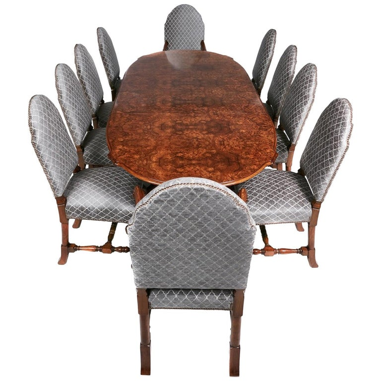 Dining Table With Chairs For Sale: Exhibition Antique Burr Walnut Carved Dining Table And 10