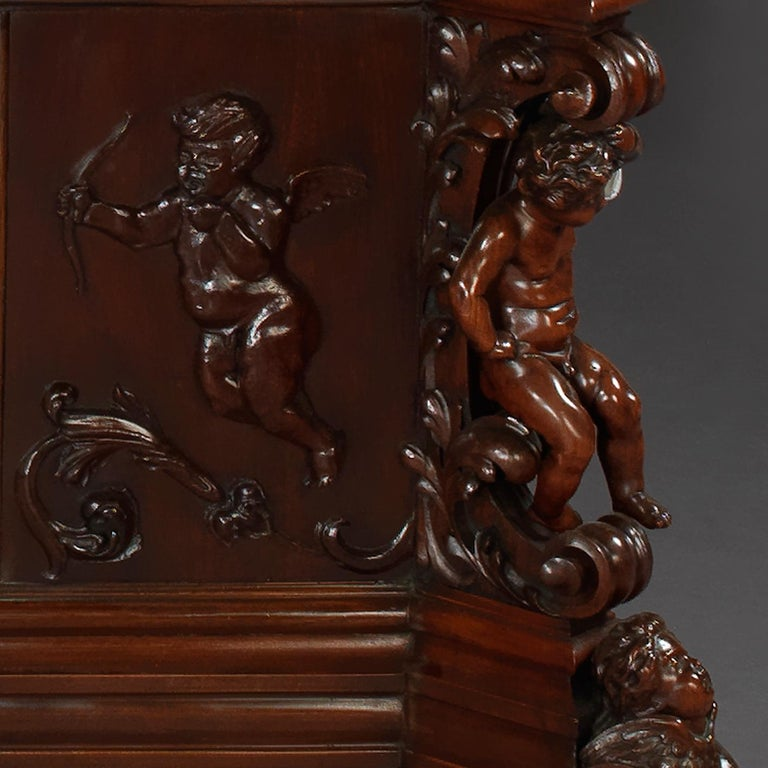 Exhibition Austrian Neo-Baroque Carved Mahogany Bed, circa 1890 For Sale 2