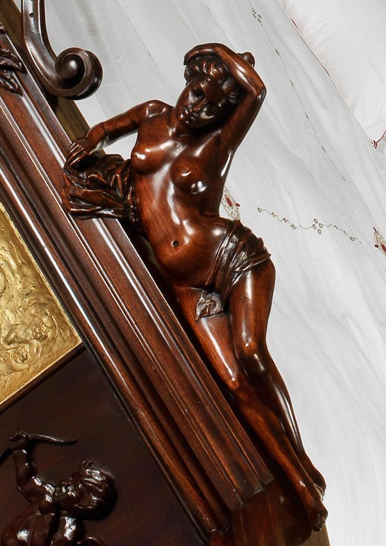Exhibition Austrian Neo-Baroque Carved Mahogany Bed, circa 1890 For Sale 3