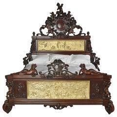Exhibition Austrian Neo-Baroque Carved Mahogany Bed, circa 1890