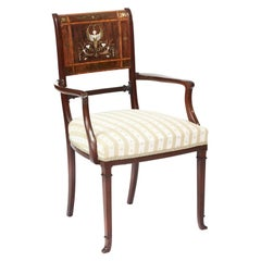 Exhibition Quality Antique Victorian Brass Inlaid Elbow Chair