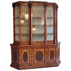 Exhibition Quality Antique Victorian Burr Walnut Carved Display Cabinet