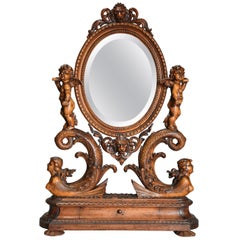 Exhibition Quality Superbly Carved Mid-19th Century Lime Wood Table Mirror