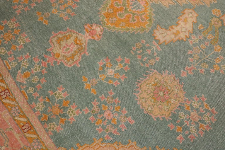 Hand-Woven Exhilarating Teal Pink Oversize Oushak Rug For Sale