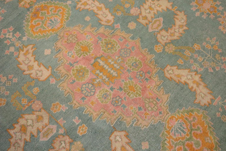 Exhilarating Teal Pink Oversize Oushak Rug In Good Condition For Sale In New York, NY